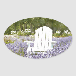 Chair in the Lavender field Oval Sticker