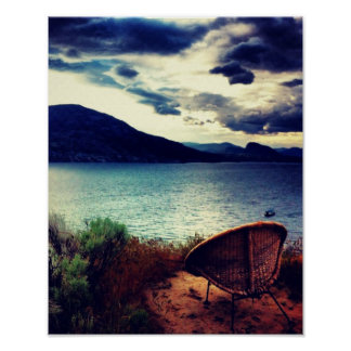 Chair Lakeview Dark Blue Clouds Poster