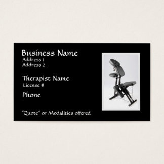 Chair Massage Therapist II, modalities on reverse Business Card