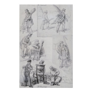 Chair menders on the streets of London, 1820-30 Poster