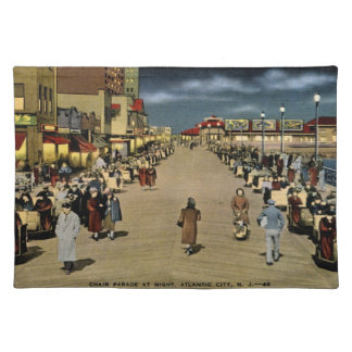 Chair Parade at Night, Atlantic City Vintage Placemat