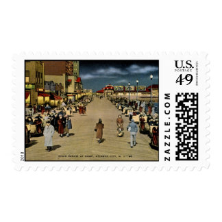 Chair Parade at Night, Atlantic City Vintage Stamps