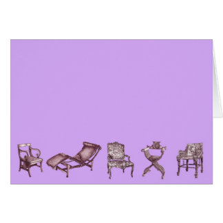 Chair posters in lilac pink cards