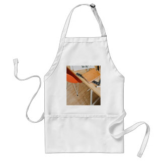 Chair Themed, Orange Chair, Desk With Leather Book Adult Apron