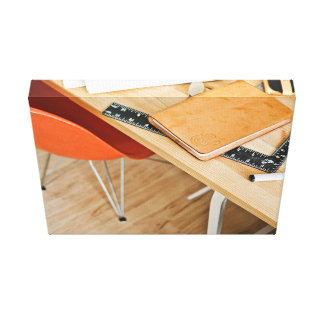 Chair Themed, Orange Chair, Desk With Leather Book Canvas Print