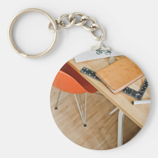 Chair Themed, Orange Chair, Desk With Leather Book Keychain