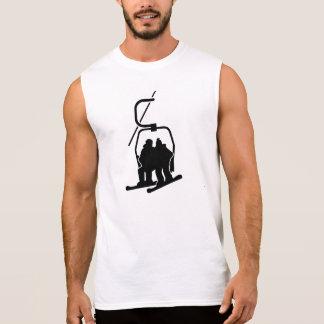 Chairlift snowboarder sleeveless shirt