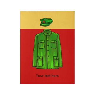 Chairman Mao Hat and Coat Wood Poster