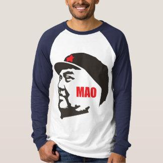 chairman mao Long Sleeve Raglan white navy t-shirt