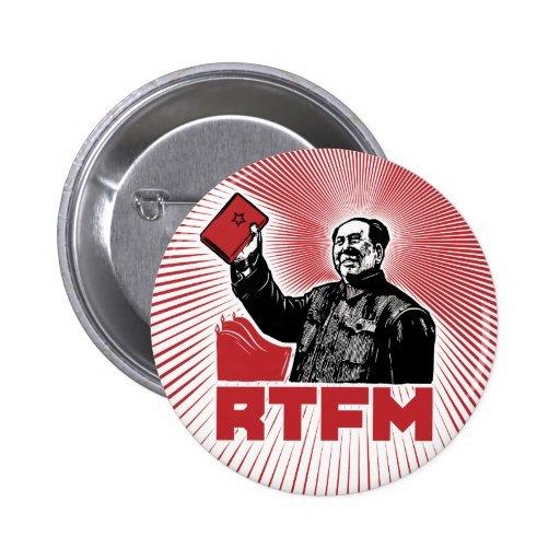 chairman mao rtfm little red book pinback button
