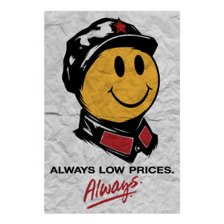 Chairman Mao Smiley Face - China:Always Low Prices Poster
