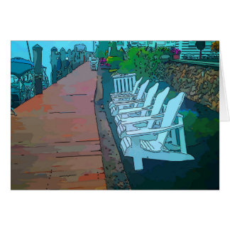 Chairs along the boat dock, Jersey Shore Card