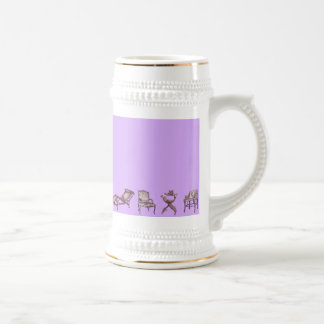Chairs in a light lilac pink beer stein