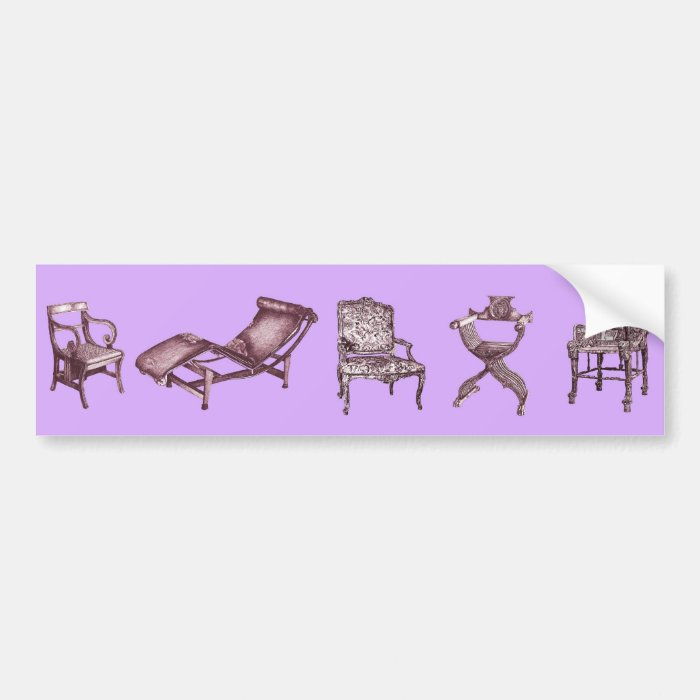 Chairs in a light lilac pink bumper sticker