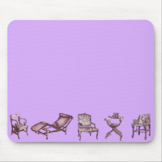 Chairs in a light lilac pink mouse pad