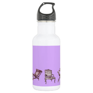 Chairs in a light lilac pink 18oz water bottle