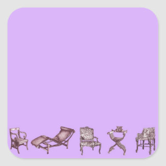Chairs in a light lilac pink square sticker