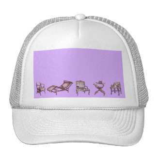 Chairs in a light lilac pink trucker hat