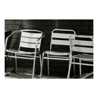 Chairs in Black and White Poster