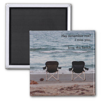 Chairs on Beach Miss You 2 Inch Square Magnet