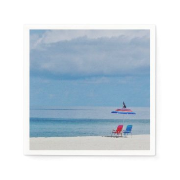 Beach Themed Chairs on the Beach Paper Napkin