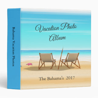 Chairs On The Beach Vacation Photo Album 3 Ring Binder