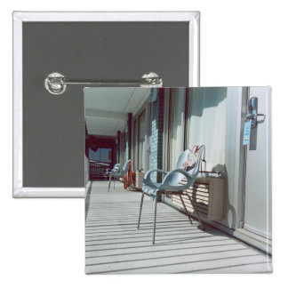 Chairs Outside Beach Hotel Rooms Pinback Button