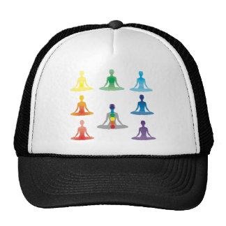 Chakra 7 colors aura chi prana yogi yoga lotus mesh hats