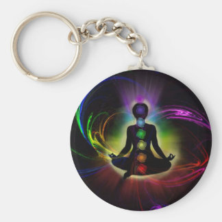 Chakra and Aura Colors Basic Round Button Keychain