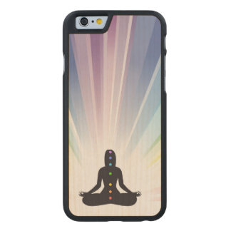 Chakra, aureola, yoga, yogui, mujer, energía, funda de iPhone 6 carved® de arce
