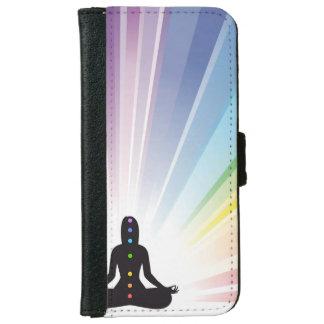 Chakra, aureola, yoga, yogui, mujer, energía, funda cartera para iPhone 6