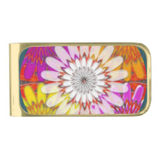 Chakra colorful ending with white FLOWER Gold Finish Money Clip