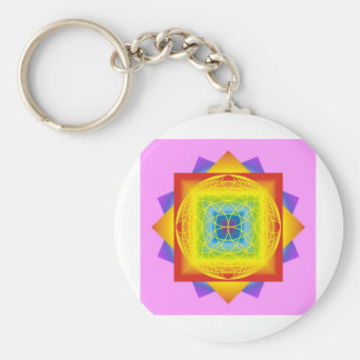 chakra colors 2 pink. Sacred Geometry Basic Round Button Keychain