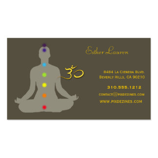 Chakra colors, Lotus flower, Om yoga, healers Double-Sided Standard Business Cards (Pack Of 100)
