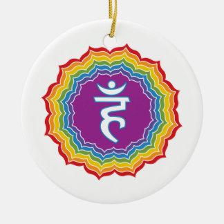 Chakra de la garganta adorno navideño redondo de cerámica