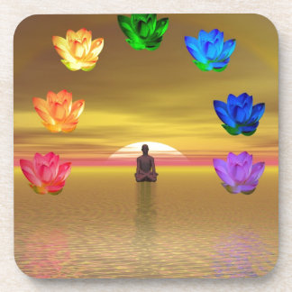 chakra golden colored background cosmos drink coasters