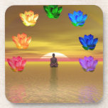 chakra golden colored background cosmos drink coaster