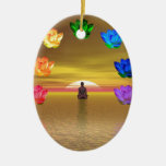 chakra golden colored background cosmos Double-Sided oval ceramic christmas ornament
