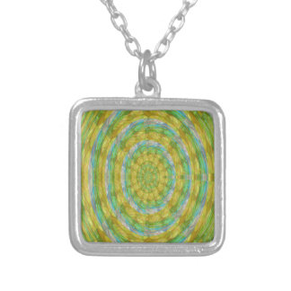CHAKRA Green Wheel Crystal Beads Stone FUN GIFTS Square Pendant Necklace