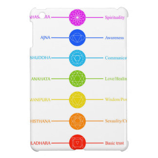 Chakra icons with respective colors cover for the iPad mini