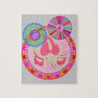 CHAKRA Jewel Wheel Round Colorful Goodluck Decor Jigsaw Puzzle
