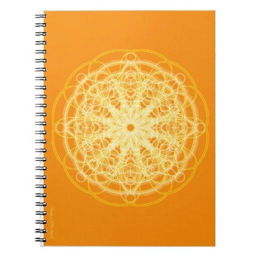 Chakra_mandala_sacred_geometry_bright_orange_notebook 130018141273091077 on Green Spiral Binding