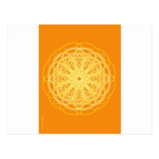 Chakra Mandala Sacred Geometry Bright Orange Postcard