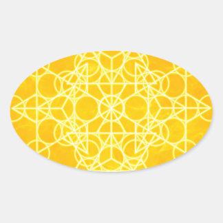 Chakra Mandala Sacred Geometry Bright Yellow Oval Sticker