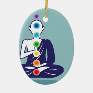 Chakra Meditation vector illustration floating Ceramic Ornament