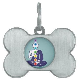 Chakra Meditation vector illustration floating Pet Tag