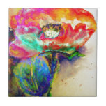 """Chakra Poppy Tile<br><div class=""""desc"""">romantic abstract surreal vibrant multi-colored poppy watercolor painting by H Cooper</div>"""