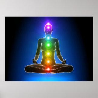 chakra, siete chakras, sistema de energía, símbolo póster