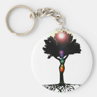 Chakra Tree Basic Round Button Keychain