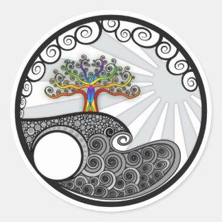 Chakra Tree Round Stickers